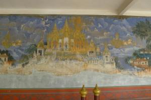 Die äußere Wand der Silberpagode mit einem Teil des Ramayana.